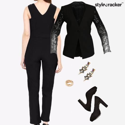 Jumpsuit Blazer Earrings Pumps Ring Chic Glam - StyleCracker