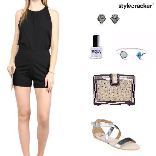Romper Clutch Sandals Studs Nailpaint  - StyleCracker
