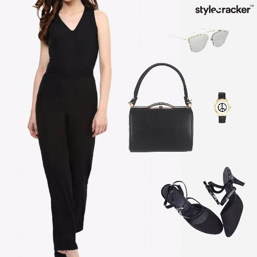 Jumpsuit Heels SlindBag Sunglasses Watch Office  - StyleCracker