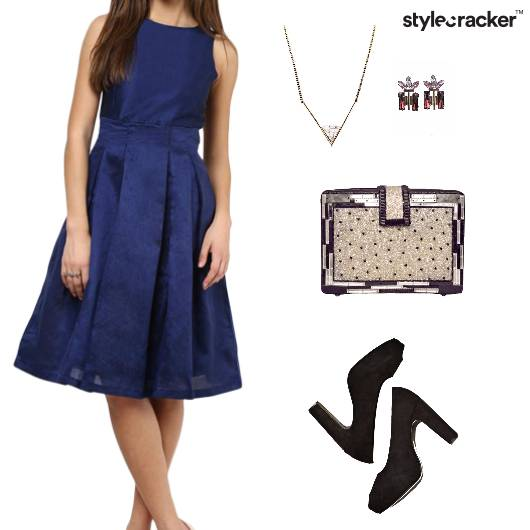 Dress Neckpiece Earrings Clutch Pumps  - StyleCracker