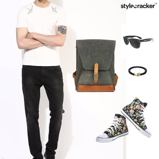 Tshirt Jeans Backpack Canvas Sunglasses Bracelet  - StyleCracker