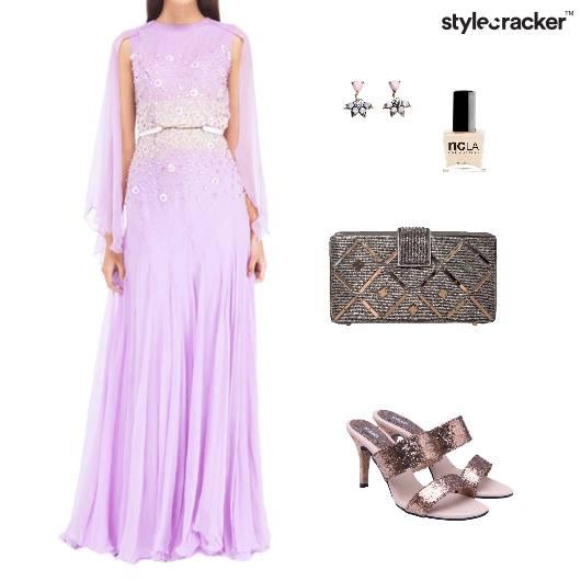 Gown Clutch Mules Earrings Pastel Party - StyleCracker