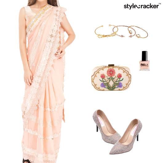 Saree Pumps Clutch Bracelet Nailpaint Ethnic - StyleCracker