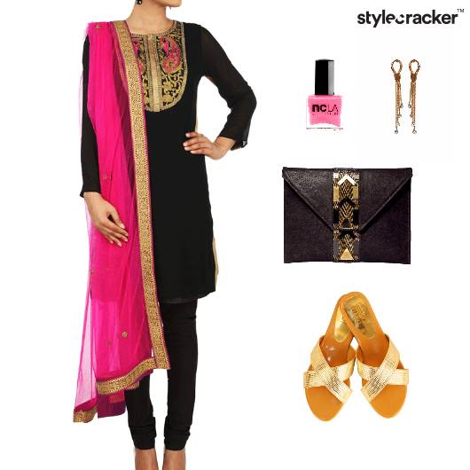 Indian Festive Ethnic Reception Colorblock - StyleCracker