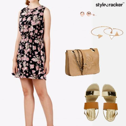FloralDress Slingbag Studs Bracelet Sandals  - StyleCracker