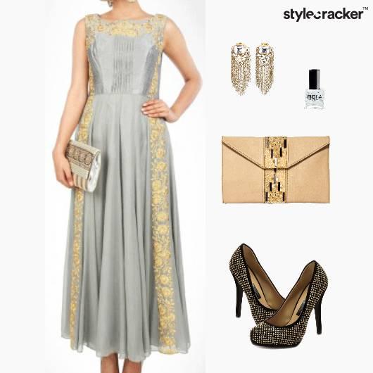 Gown Clutch Pumps Earrings Nailpaint - StyleCracker