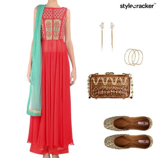Anarkali Ethnic Clutch Slipons Earrings Bracelet  - StyleCracker