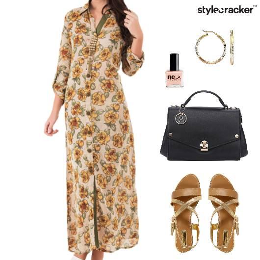 FloralMaxi Handbag Sandals Nailpaint Earrings Shopping - StyleCracker