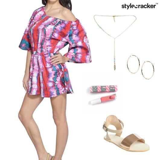PrintedRomper Nailpaint Neckpiece Earrings Sandals Summer - StyleCracker