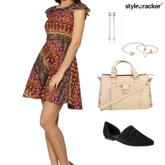 Dress SlingBag Flats Earrings Braclet Casual - StyleCracker