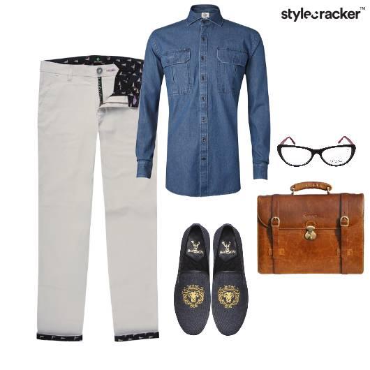 DenimShirt Pants Handbag Slipons Glasses SemiFormal - StyleCracker