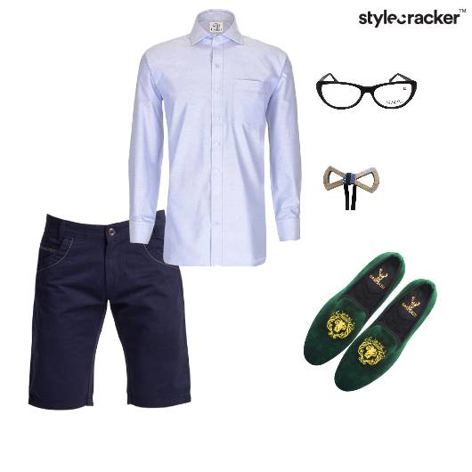 Shirt Shorts Bowtie Glasses Slipons - StyleCracker