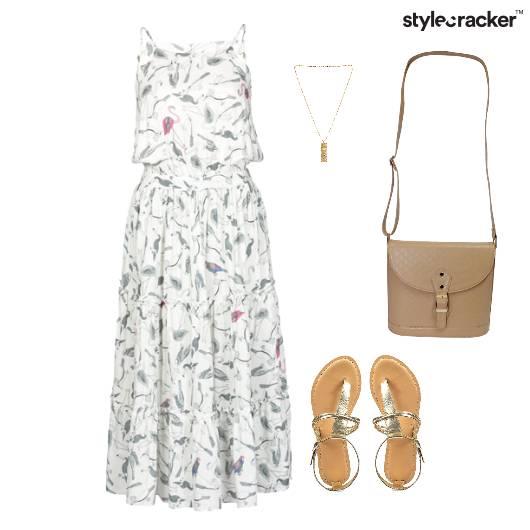 Printed Dress SlingBag Flats Brunch - StyleCracker