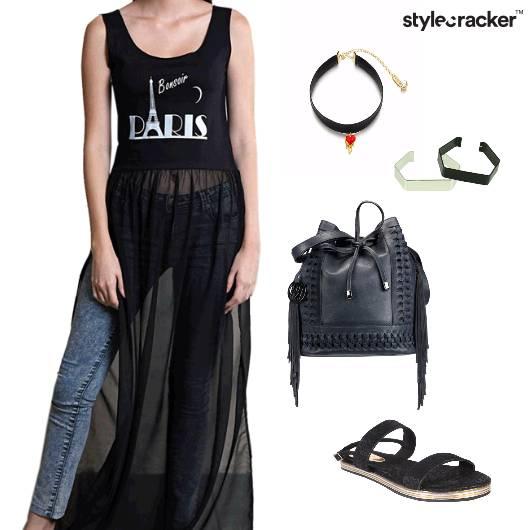 TopMaxi Jeans BucketBag Choker Sandals  - StyleCracker