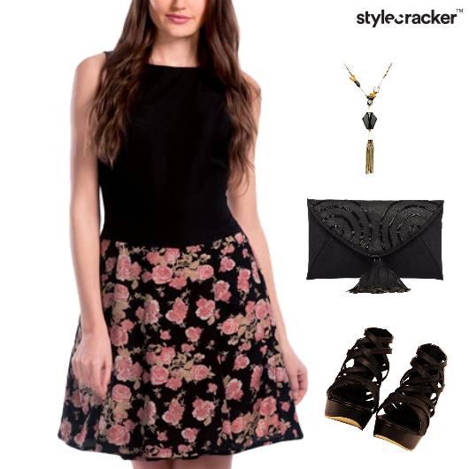 Floral Print Dress Clutch Dinner - StyleCracker