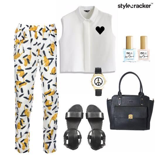 Croptop Flats Printed Handbag Casual - StyleCracker