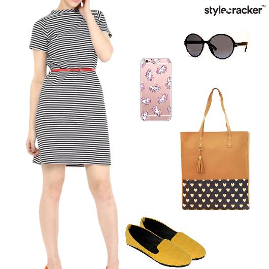 Dress Striped Tote Flats Brunch - StyleCracker