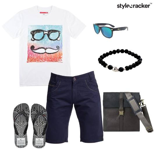Tshirt Shorts Bag Flipflops Casual - StyleCracker
