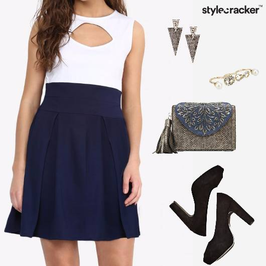 SkaterDress Clutch Earrings Pumps Party  - StyleCracker