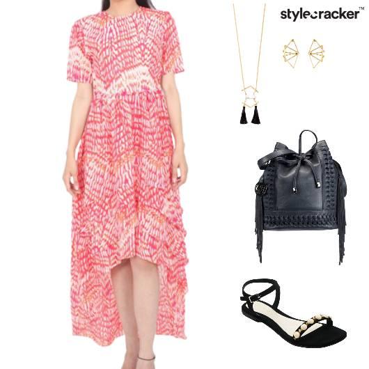 Dress Neckpiece BucketBag Sandals Boho - StyleCracker
