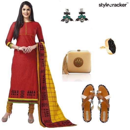 Suit Flats Clutch Earrings Eid Indian - StyleCracker