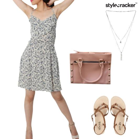 Skirt Handbag Flats LayeredNecklace Lunch - StyleCracker