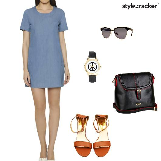 Dress Denim Flats Slingbag Casual - StyleCracker