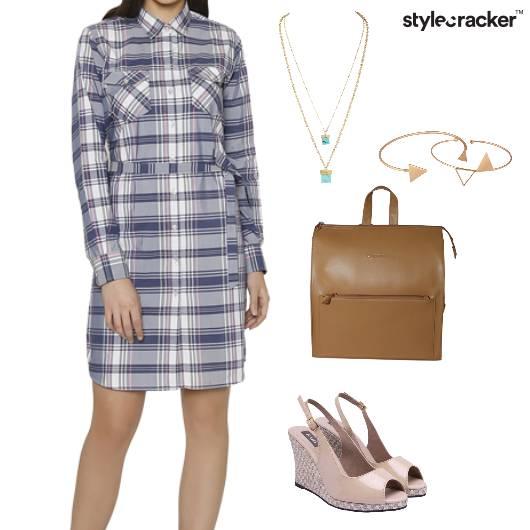 ShirtDress Backpack Slingbacks LayeredNecklace Bracelets Lunch - StyleCracker