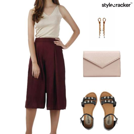 Culottes Nude Casual Lunch  - StyleCracker