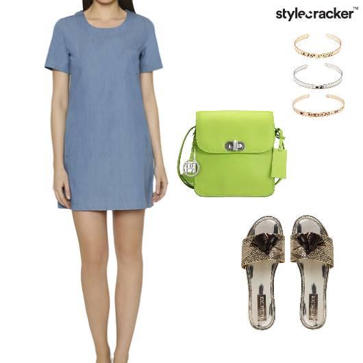 DenimDress Sandals Slingbag Bracelet Casual - StyleCracker
