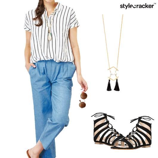 Top FlaredPants Neckpiece Sandals Casual - StyleCracker