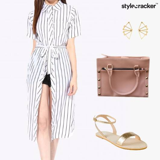 Top Shorts ToteBag Earrings Sandals - StyleCracker