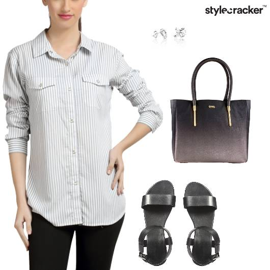 Shirt Pants Casual Work Stripes - StyleCracker