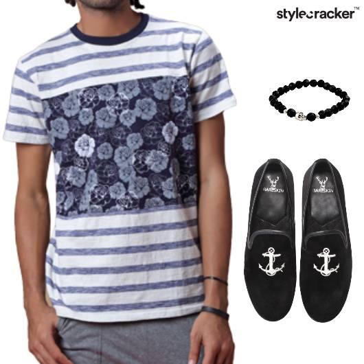 Tshirt Jeans Slipons Bracelet Stripes  - StyleCracker