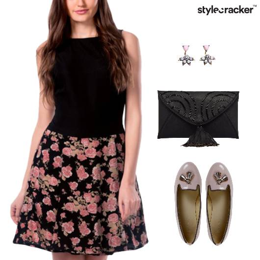 Floral Dress Ballet Flats Clutch Dinner - StyleCracker