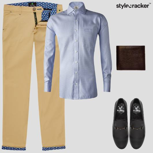 Shirt Blues Chinos Work  - StyleCracker