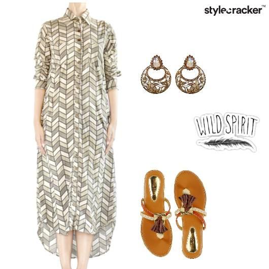 ShirtDress Prints Earthy Tassel  - StyleCracker