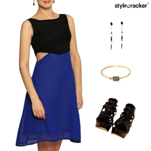ColorBlock Cutwork Dress Accessories  - StyleCracker