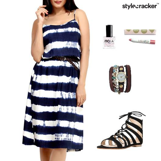 Stripe Dress Flats Lunch Weekend - StyleCracker