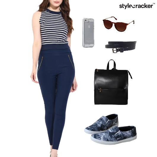 Stripe CropTop Backpack SlipOn Sunglasses - StyleCracker