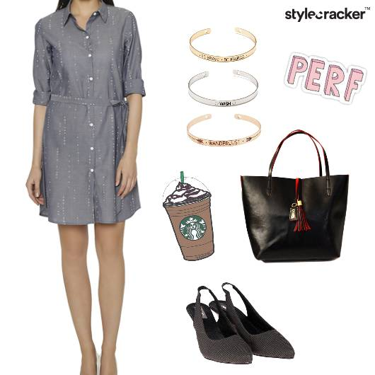 Shirtdress Casual KittenHeels Coffee - StyleCracker