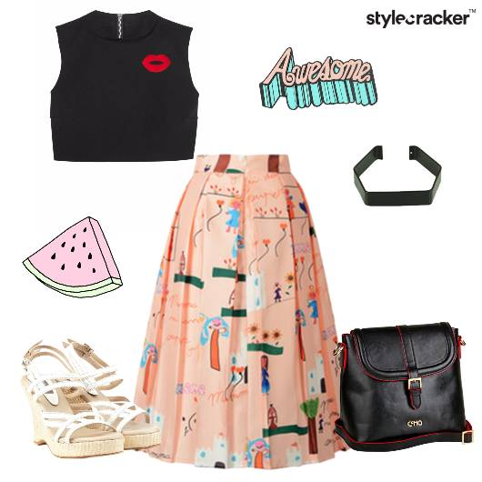 Croptop Skirt Wedges Slingbag Brunch - StyleCracker