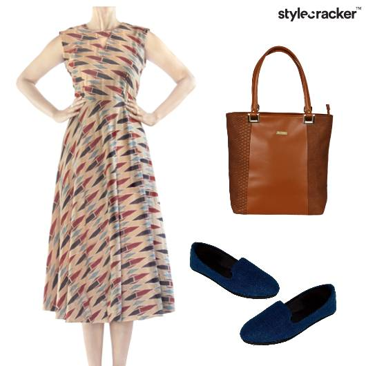 Midi Printed Dress Casual Outing DayWear - StyleCracker