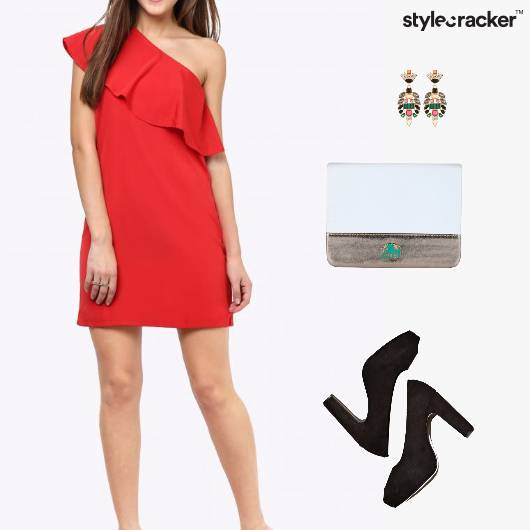 OneShoulderDress Earrings Clutch Pumps - StyleCracker