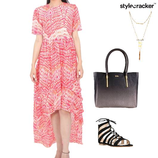 Dress Neckpiece Bag StrappySandals  - StyleCracker