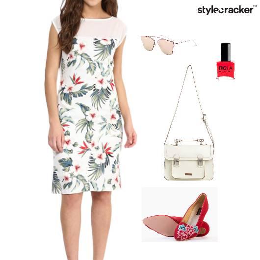 Floral Print Dress SlingBag BalletFlats - StyleCracker