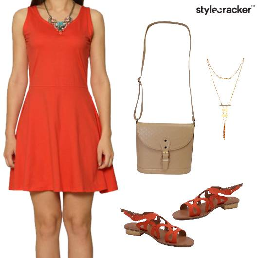 Skater Dress Flats Casual Outing - StyleCracker
