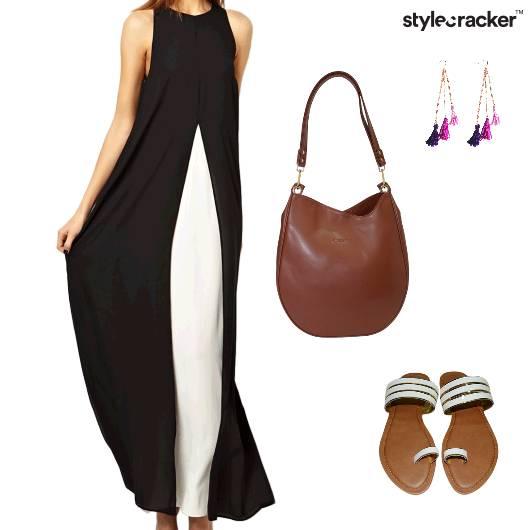 MaxiDress ToteBag TasselEarrings Sandals  - StyleCracker