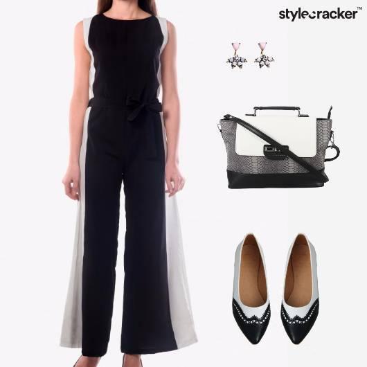 Jumpsuit earrings Bag Flats Chic - StyleCracker