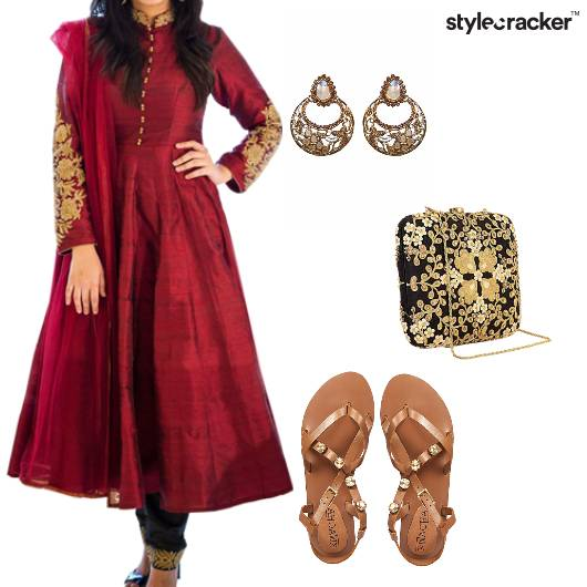 Suit Anarkali Flats Clutch Party Indian - StyleCracker